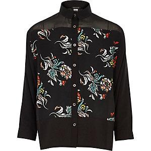 Schwarzes, gemustertes Hemd mit Blumen-Print
