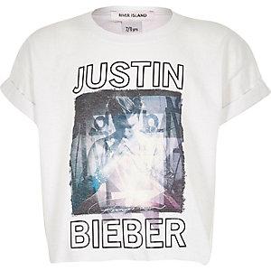 Girls white Bieber print cropped t-shirt