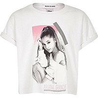 Girls white Ariana Grande cropped t-shirt