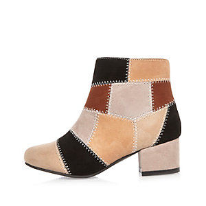 Girls brown patchwork heeled boots