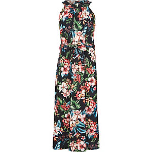 Girls pink floral print maxi dress