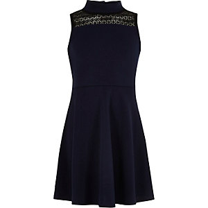 Girls navy lace panel scuba dress
