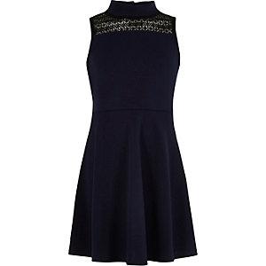 Marineblaues Scuba-Kleid mit Spitzenbahn