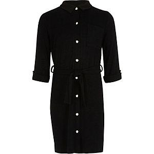 Schwarzes, gestepptes Blusenkleid