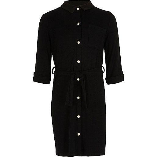 Girls black quilted shirt dress