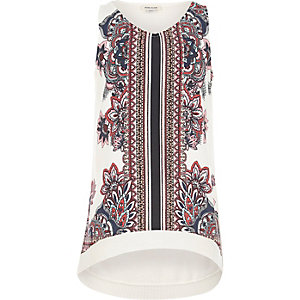 Girls cream oriental print tank top
