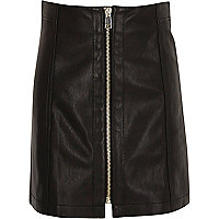 Girls black leather look zip mini skirt