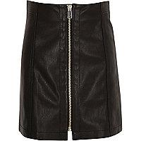 Mini-jupe en cuir synthétique noire avec fermeture éclair pour fille