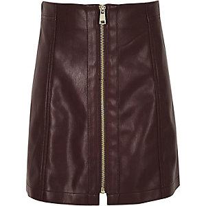 Mini-jupe en cuir synthétique violet foncé avec fermeture éclair pour fille