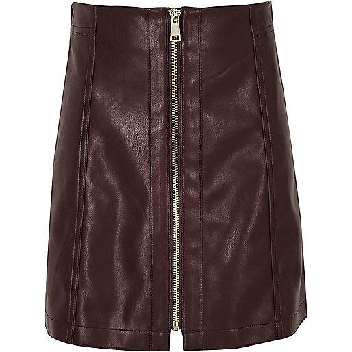 Minirock mit Reißverschluss im Leder-Look in Dunkellila