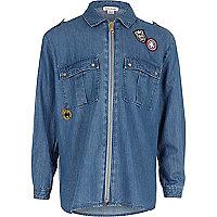 Chemise oversize avec écusson bleue pour fille