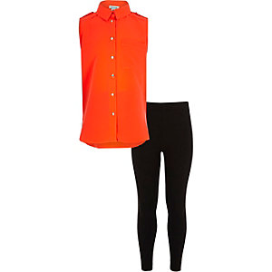 Girls orange shirt and leggings outfit