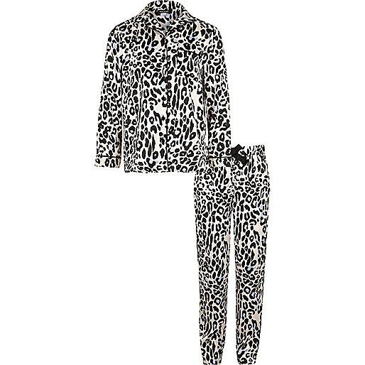 Ensemble de pyjama imprimé léopard rose pour fille