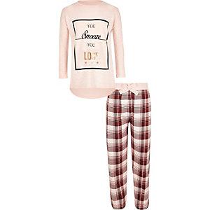 Girls pink slouch top pyjama set