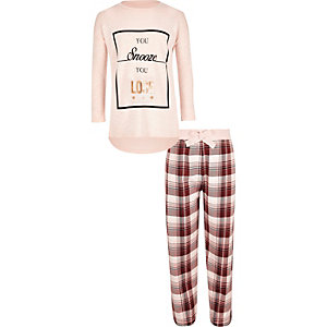 Girls pink slouch top and pants set
