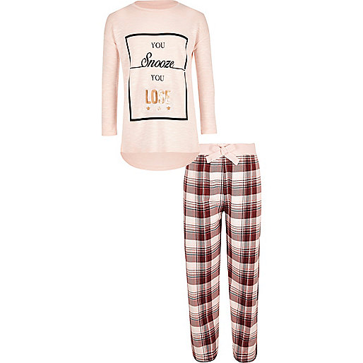 Girls pink slouch top pyjama set