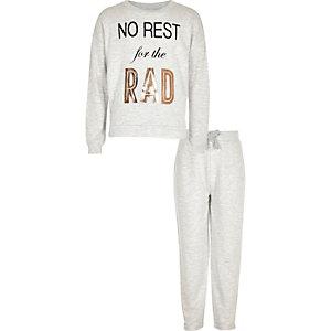 Girls grey metallic print pyjama set