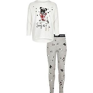 Girls white pug print top pyjama set