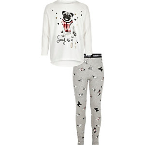 Girls white pug print top and leggings set