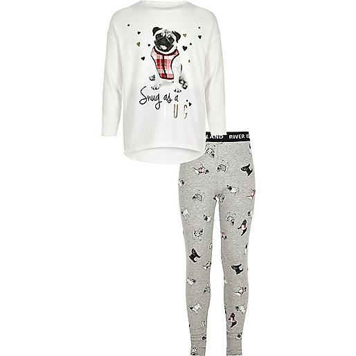 Girls white pug print top pajama set