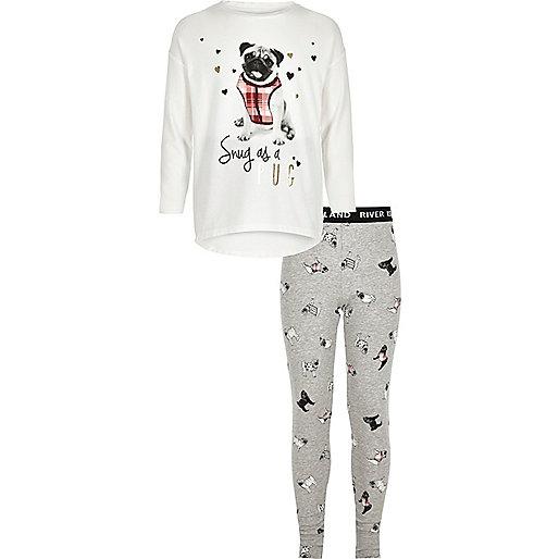 Ensemble pyjama à haut blanc imprimé carlin fille