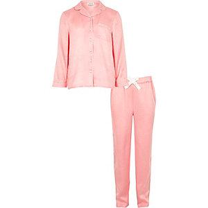 Girls pink jacquard pyjama set