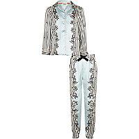 Girls blue satin print pyjama set
