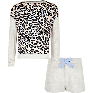Girls grey animal print shorts pajama set