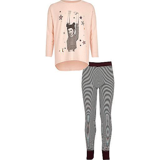 Ensemble de pyjama top rose et legging rayé pour fille