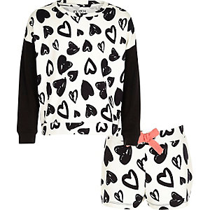 Girls heart print sweat short set