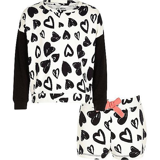 Girls heart print sweat short pyjama set