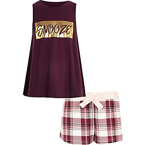 Girls red 'snooze' print shorts pyjama set