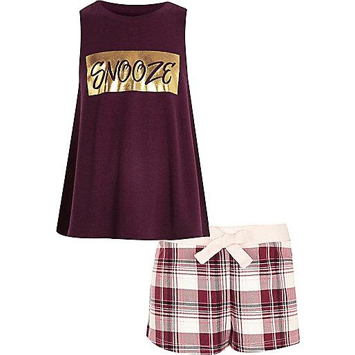 """Rotes Pyjama-Set mit Shorts und """"Snooze""""-Aufdruck"""
