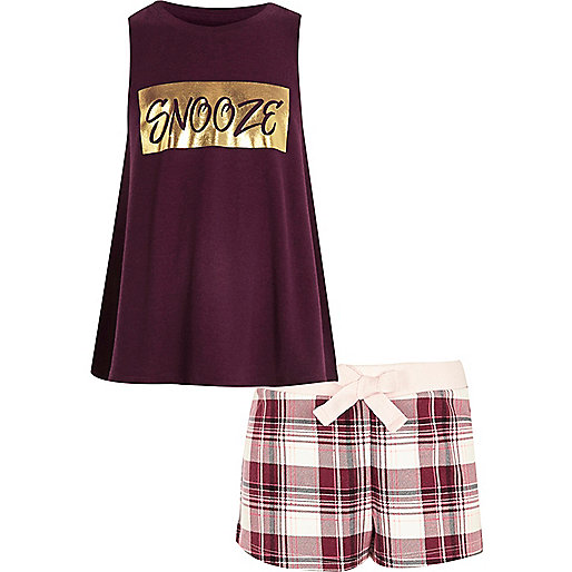 Girls red 'snooze' print shorts pajama set