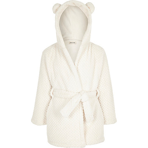 Girls cream hooded ears dressing gown