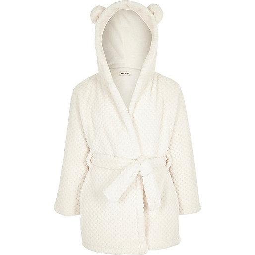 Robe de chambre crème à capuche avec oreilles pour fille