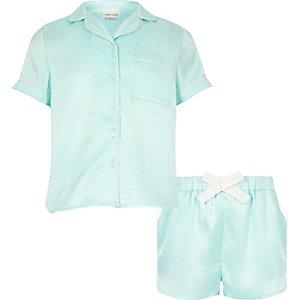Girls mint green jacquard short pajama set