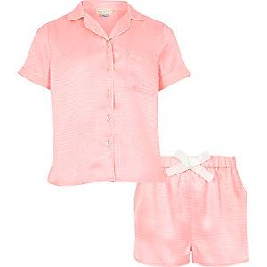 Girls pink jacquard short pyjama set