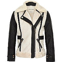 Girls cream contrast borg jacket