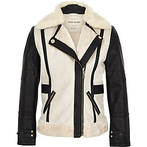Girls cream contrast fleece jacket