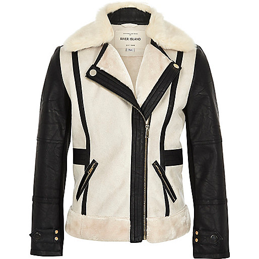 Girls cream contrast borg jacket