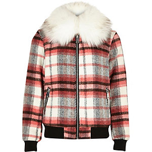 Girls red checked collar bomber jacket