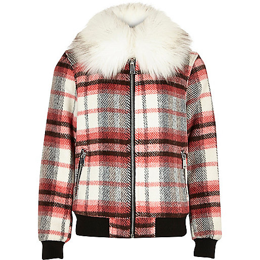 Girls red check collar bomber jacket
