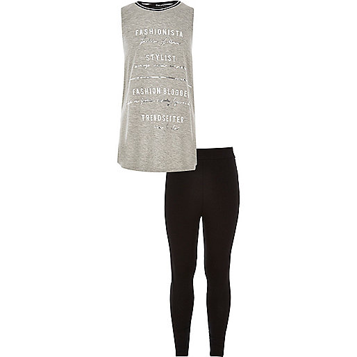 Girls grey tank top and leggings outfit