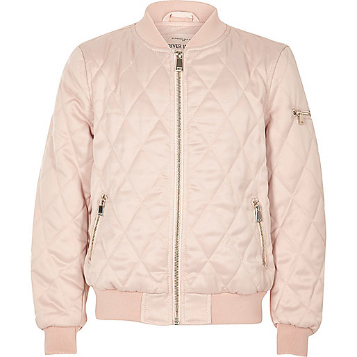 Girls pink quilted bomber jacket