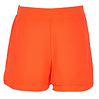 Girls orange double layer shorts