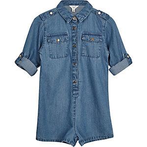 Mini girls blue wash denim playsuit