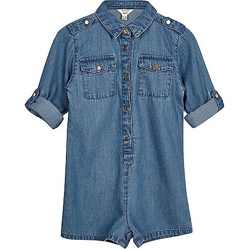Mini girls blue wash denim romper