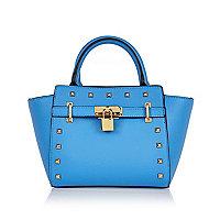 Girls blue padlock tote handbag
