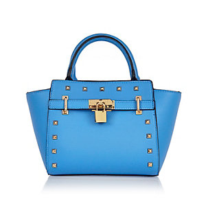 Girls blue padlock tote handbag